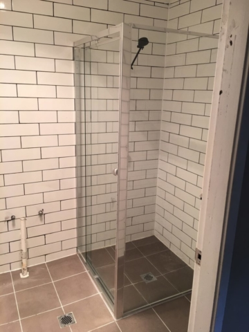 Subway tiles with black grout